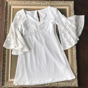 White Dress with Bell Sleeves - Bebe